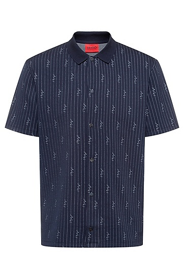 细条纹和手绘徽标装饰宽松版 Polo 衫,  405_Dark Blue