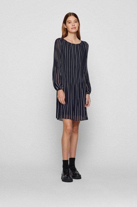 Slim-fit plissé dress with printed stripes, Light Blue
