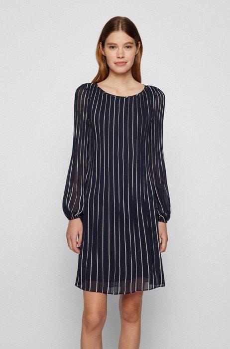 Slim-fit plissé dress with printed stripes, Dark Blue