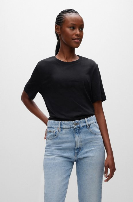 Relaxed-fit T-shirt in organic-cotton jersey, Black