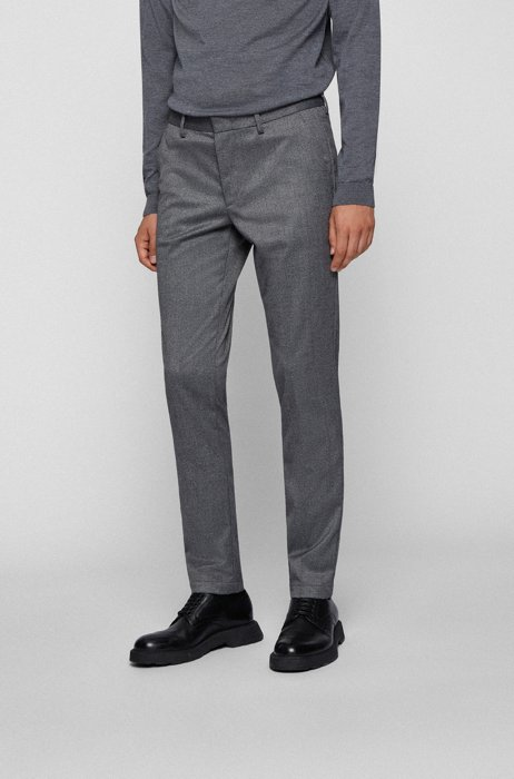 Slim-fit chinos in mouliné twill, Grey