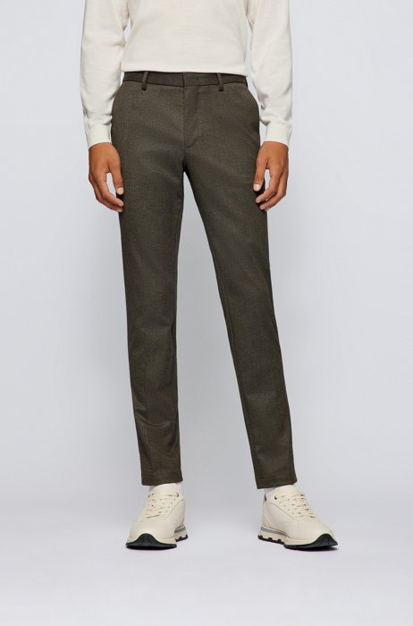 Slim-fit chinos in mouliné twill, Brown