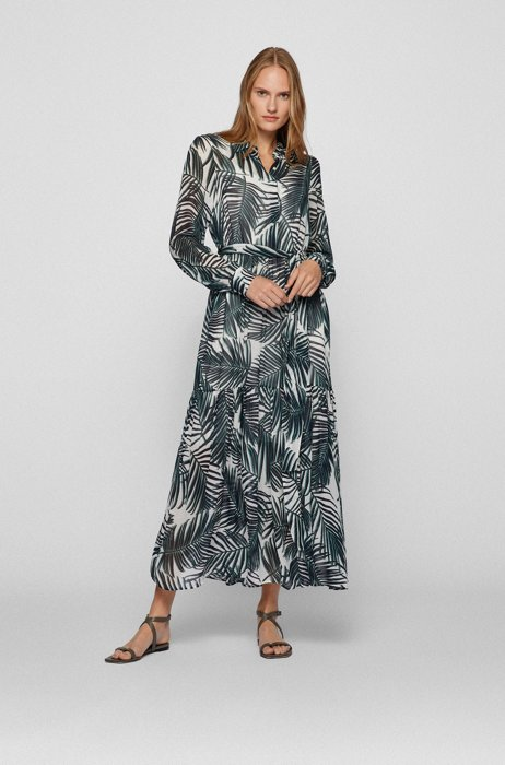 Robe-chemise longue à imprimé à feuilles intégral, Fantaisie