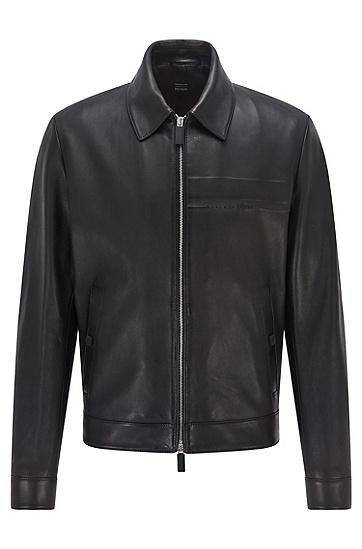 Wet-green® 皮革束腰式夹克,  001_Black