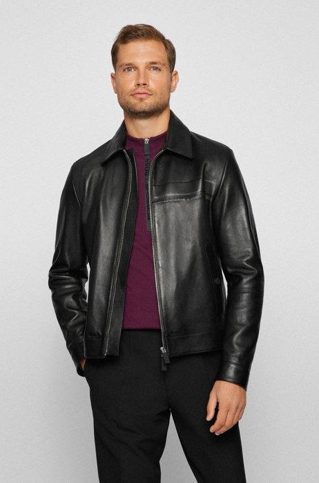 Blouson-style jacket in wet-green® leather, Black