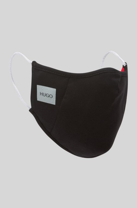 Stretch-cotton face mask with reflective logo, Black