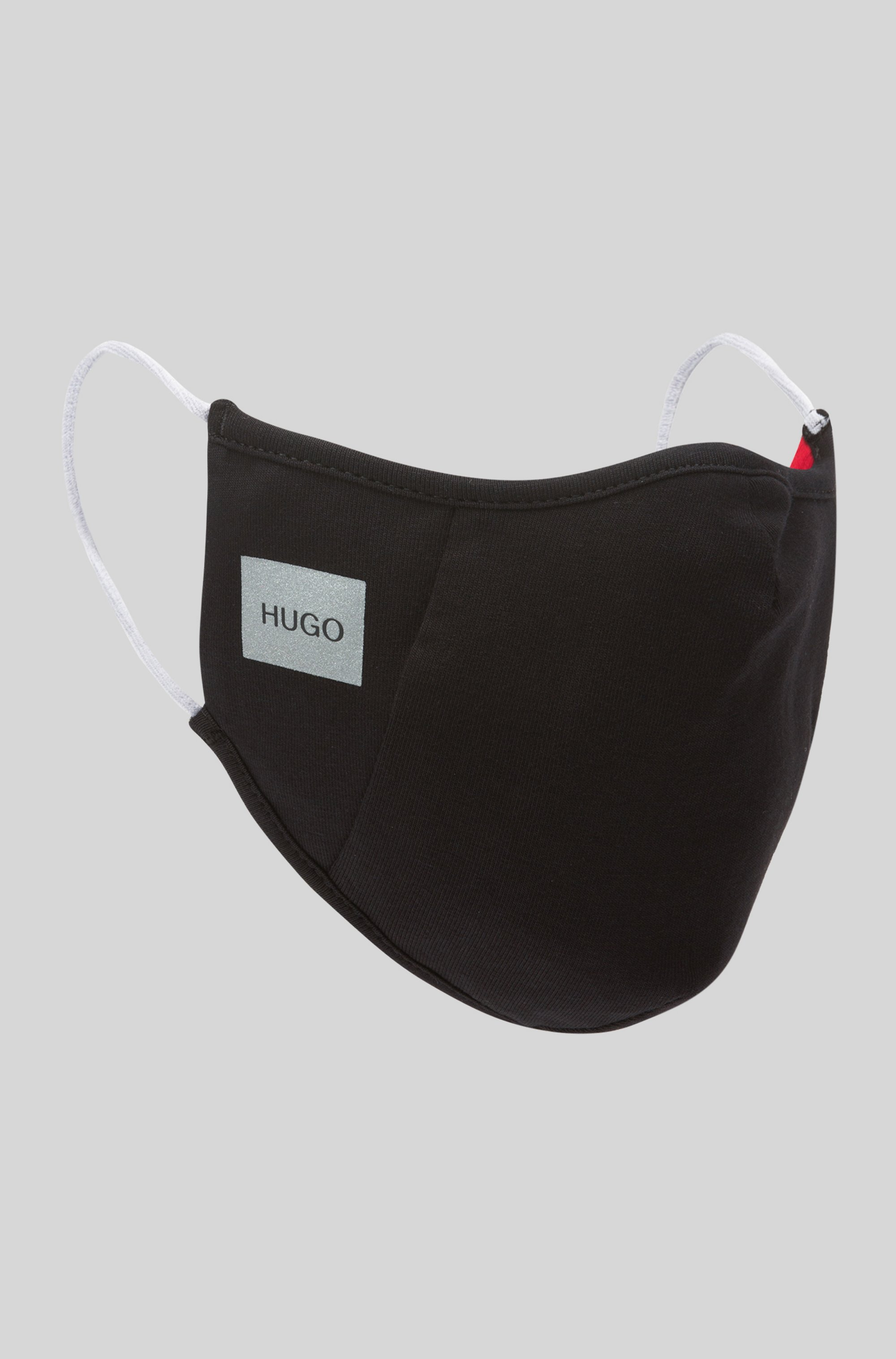 Masque en coton stretch avec logo réfléchissant, Noir