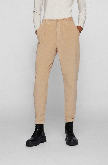 Boyfriend-fit broek van katoenen corduroy, Lichtbeige