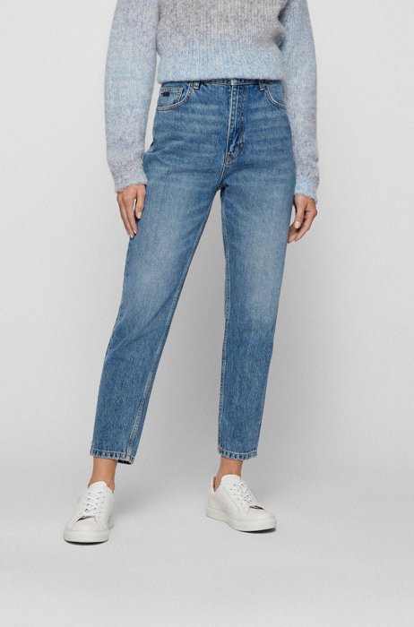 Regular-fit jeans in mid-blue organic-cotton denim, Blue