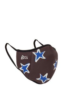 Masque facial en tissu stretch avec logo et étoiles, Noir