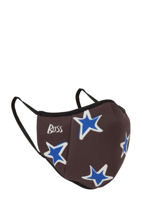 Face mask in stretch fabric with logo and stars, Black