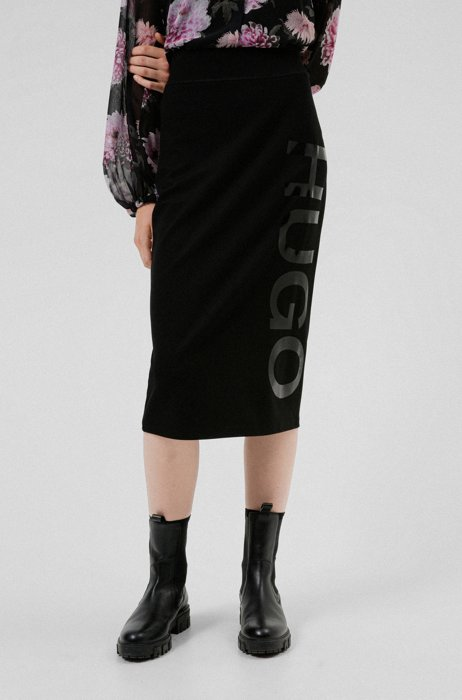Oversized-logo-print pencil skirt in stretch fabric, Black