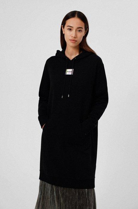 Vestito stile felpa con cappuccio in cotone con etichetta con logo, Nero