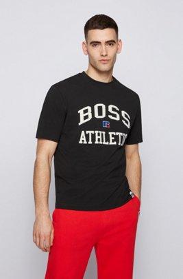 T-Shirt aus Stretch-Baumwolle mit exklusivem Logo, Schwarz