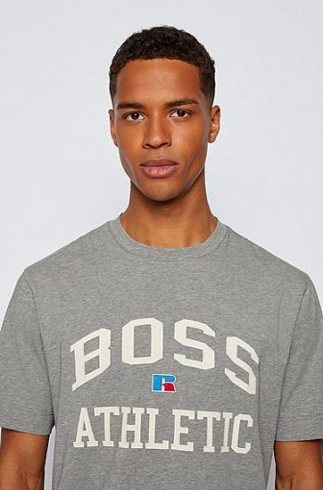 RUSSELL联名专属徽标图案装饰宽松版型中性弹力棉 T 恤,  034_Medium Grey