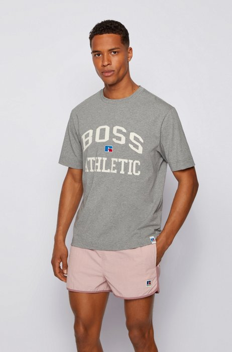 T-shirt mixte Relaxed Fit en coton stretch à logo exclusif, Gris