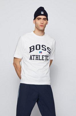 Camiseta unisex relaxed fit en algodón elástico con logo exclusivo, Blanco