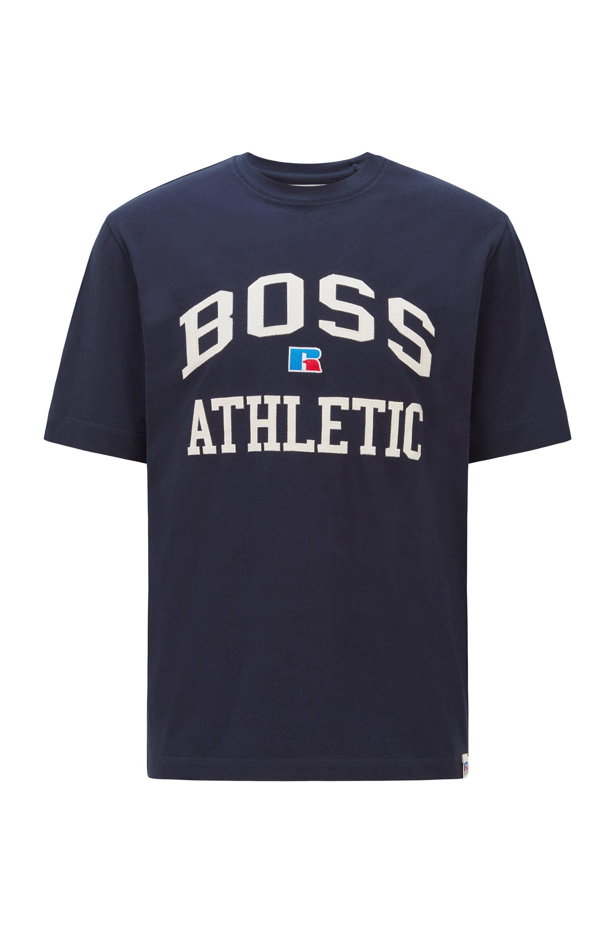 Relaxed-fit uniseks T-shirt van stretchkatoen met exclusief logo, Donkerblauw