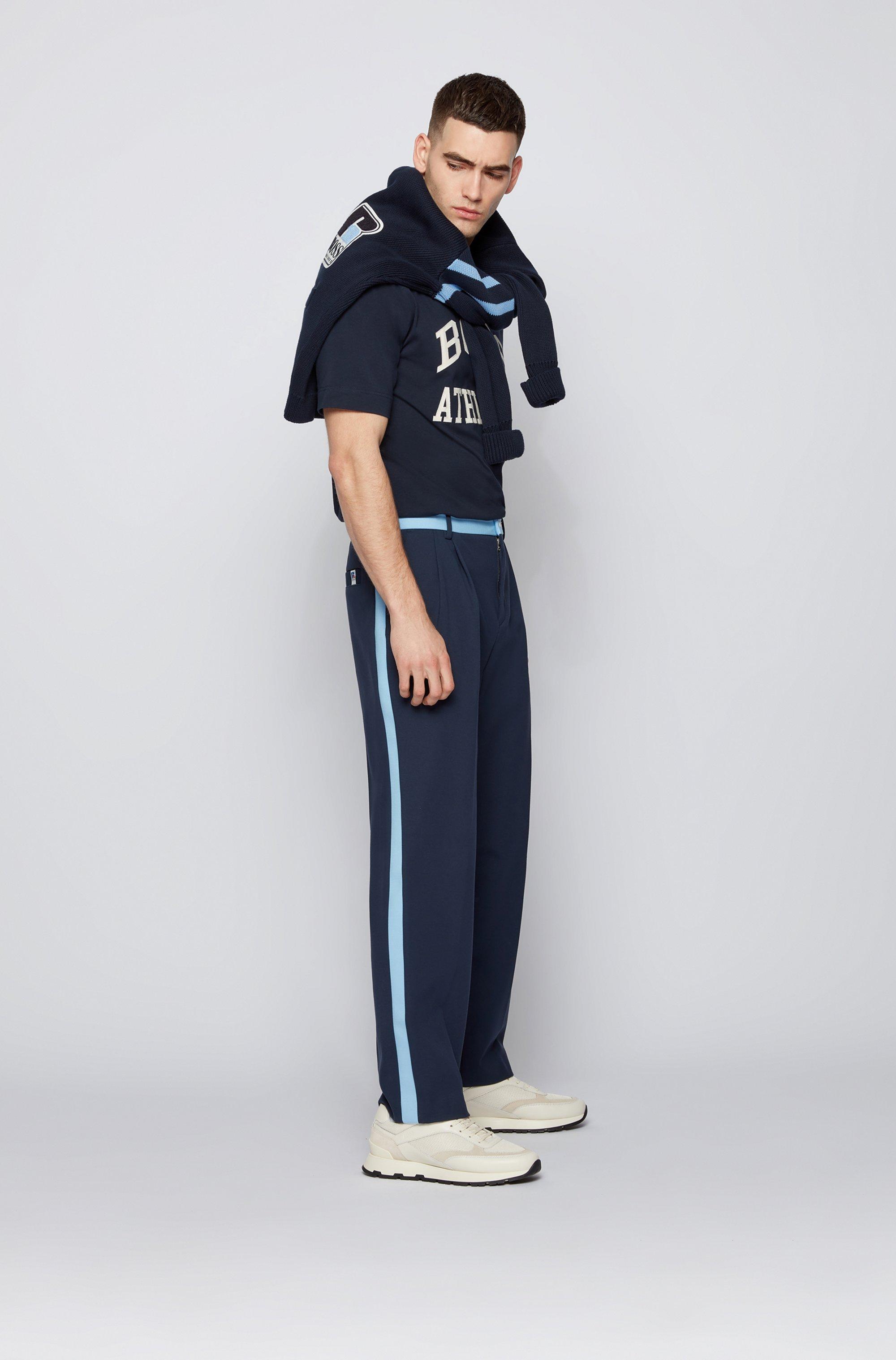 Relaxed-fit uniseks T-shirt van stretchkatoen met exclusief logo
