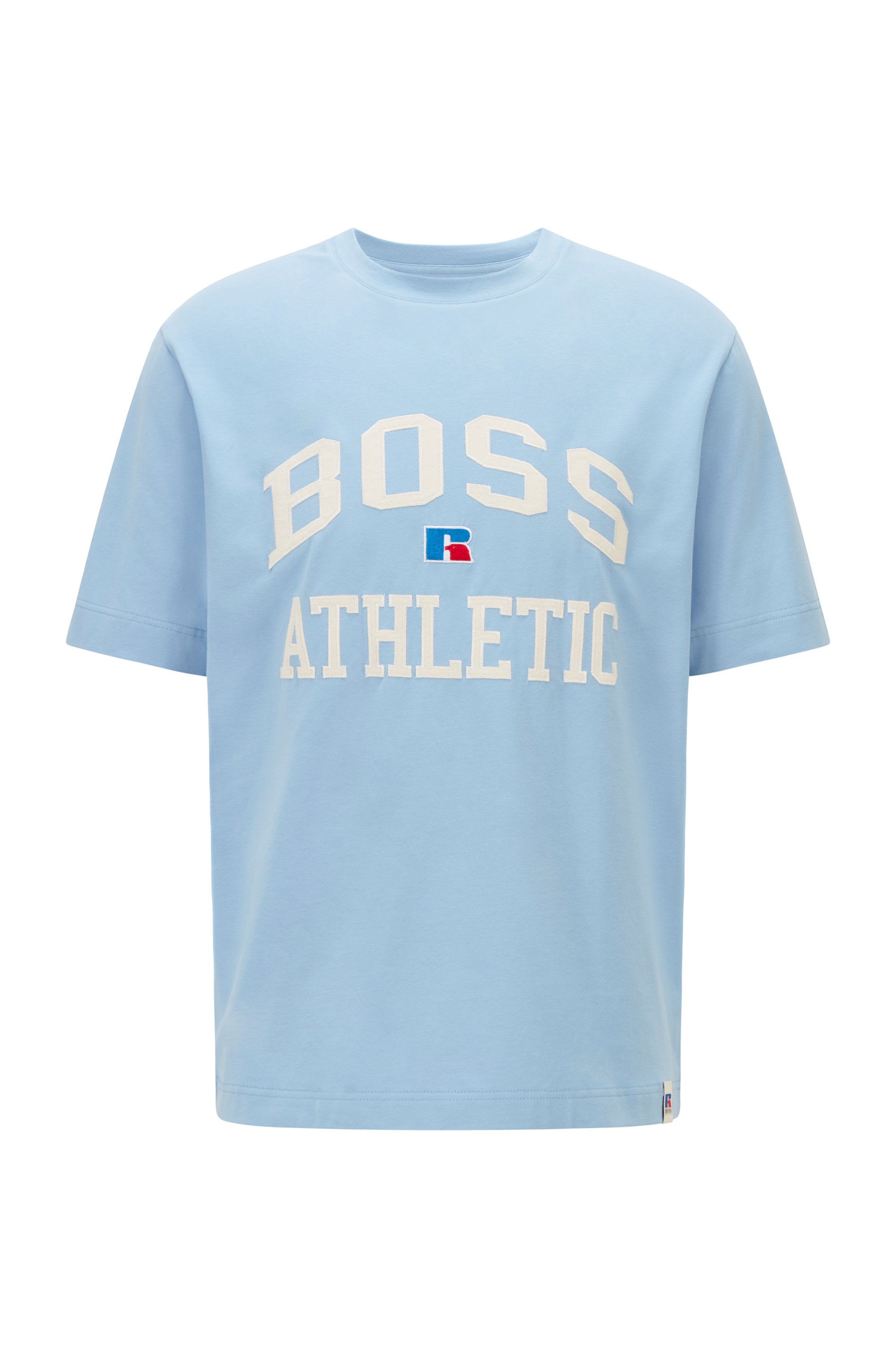 Camiseta unisex relaxed fit en algodón elástico con logo exclusivo, Celeste