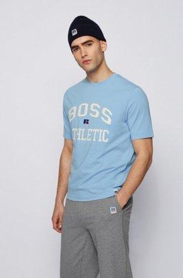 T-Shirt aus Stretch-Baumwolle mit exklusivem Logo, Hellblau