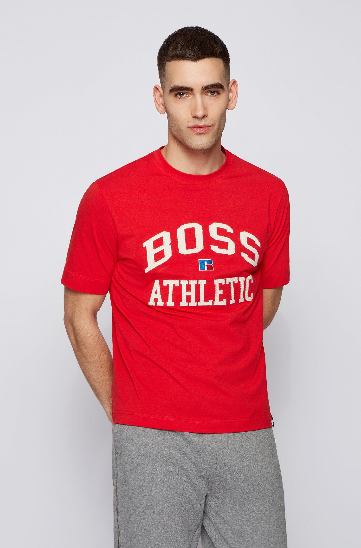 Relaxed-fit uniseks T-shirt van stretchkatoen met exclusief logo, Rood