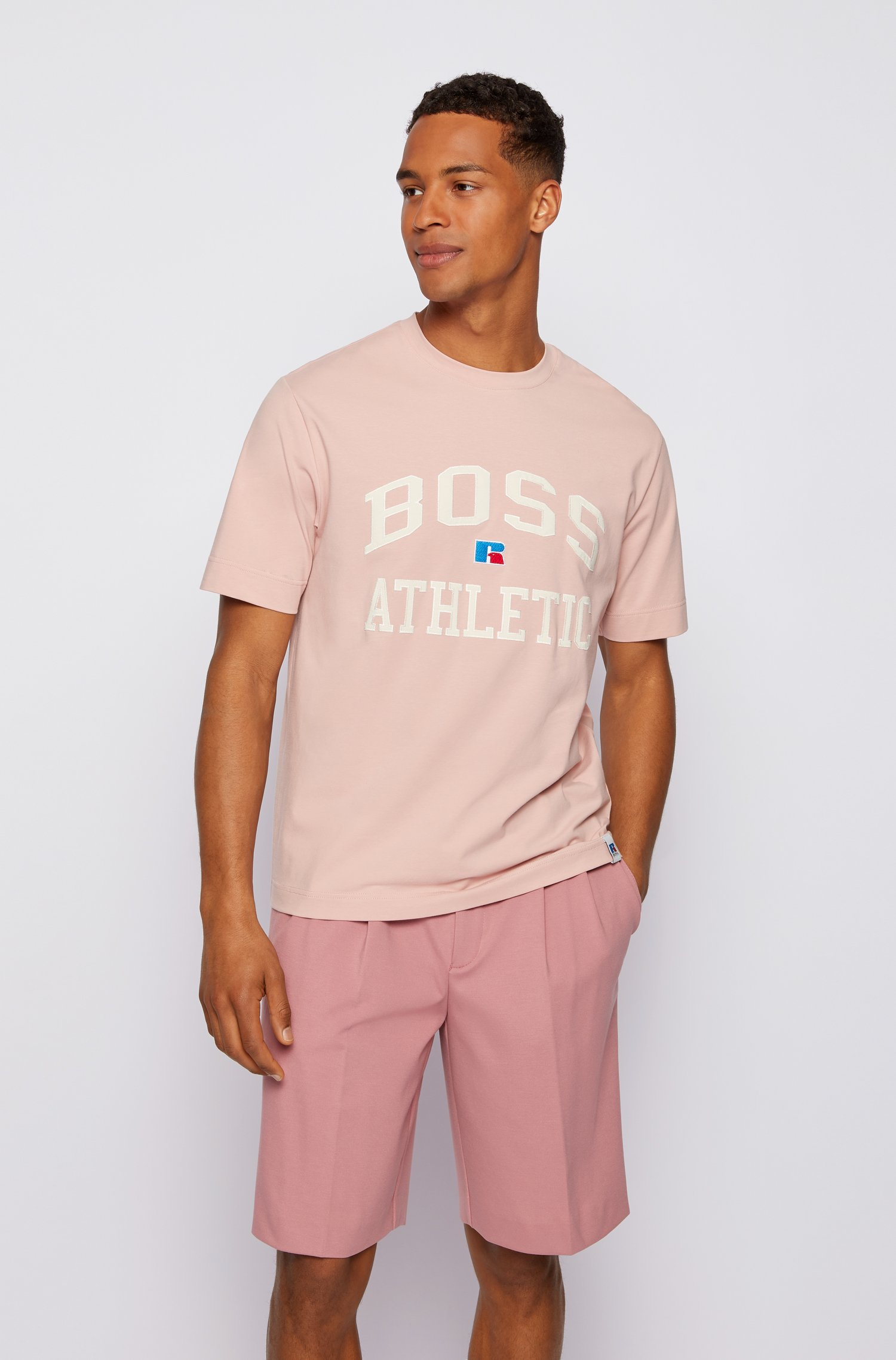 Relaxed-fit unisex T-shirt in stretch cotton with exclusive logo, light pink