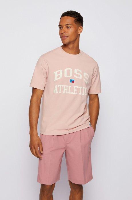 T-shirt mixte Relaxed Fit en coton stretch à logo exclusif, Rose clair
