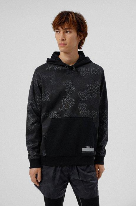 Snakeskin-print relaxed-fit hoodie in cotton interlock, Black