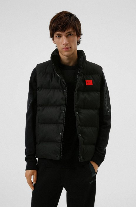Slim-fit padded gilet in water-repellent fabric, Black