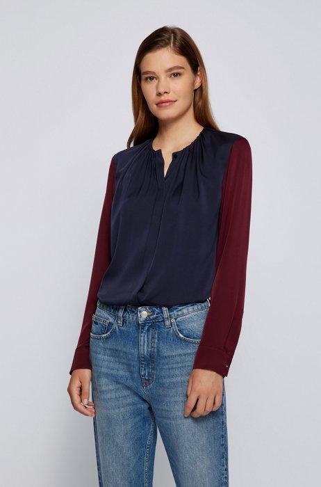 Regular-fit blouse in colour-blocked stretch silk, Dark Blue