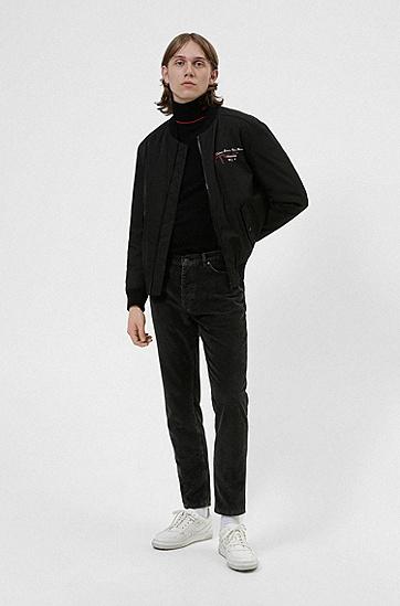 手写徽标扭曲蛇形图案装饰飞行员夹克,  001_Black