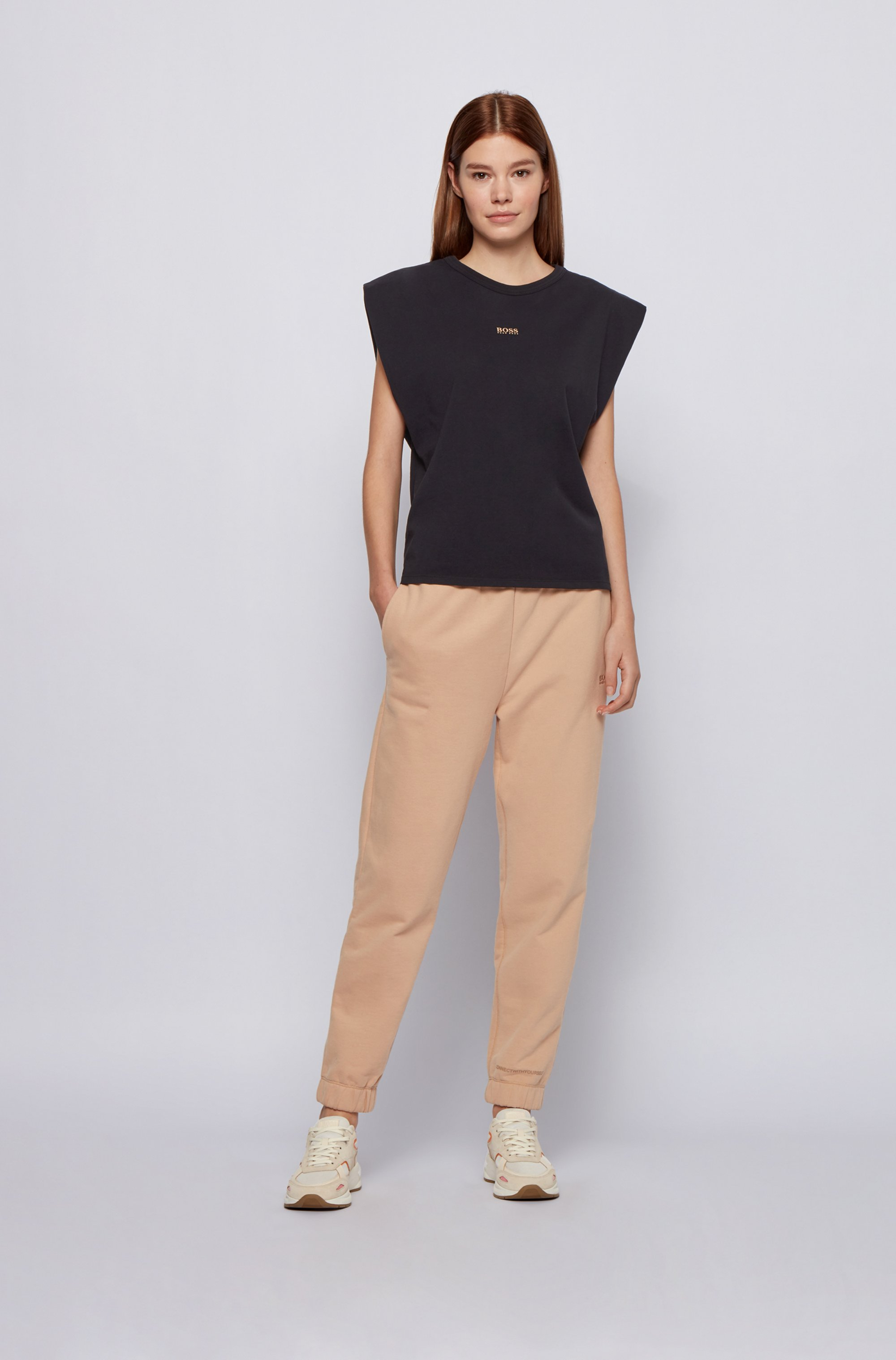 Sleeveless relaxed-fit T-shirt in organic cotton with logo