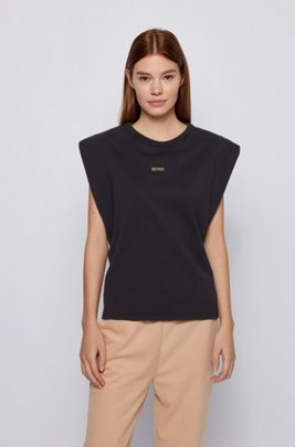 Sleeveless relaxed-fit T-shirt in organic cotton with logo, Black