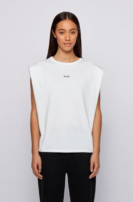 Sleeveless relaxed-fit T-shirt in organic cotton with logo, White
