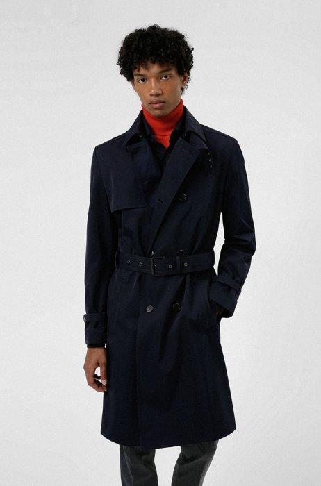 Water-repellent regular-fit trench coat with buckled belt, Dark Blue