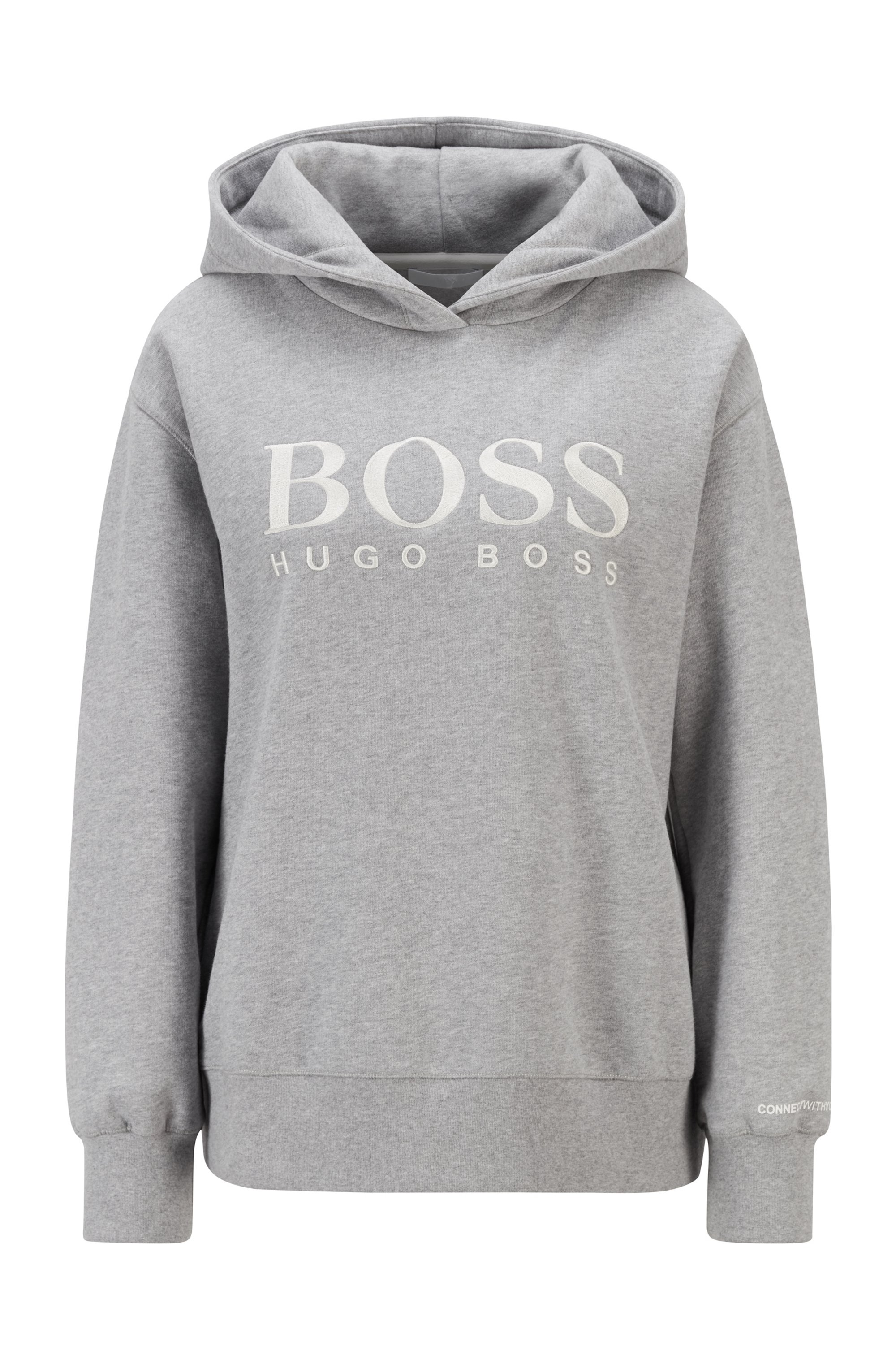 Relaxed-fit hoodie in French terry with chest logo, Silver