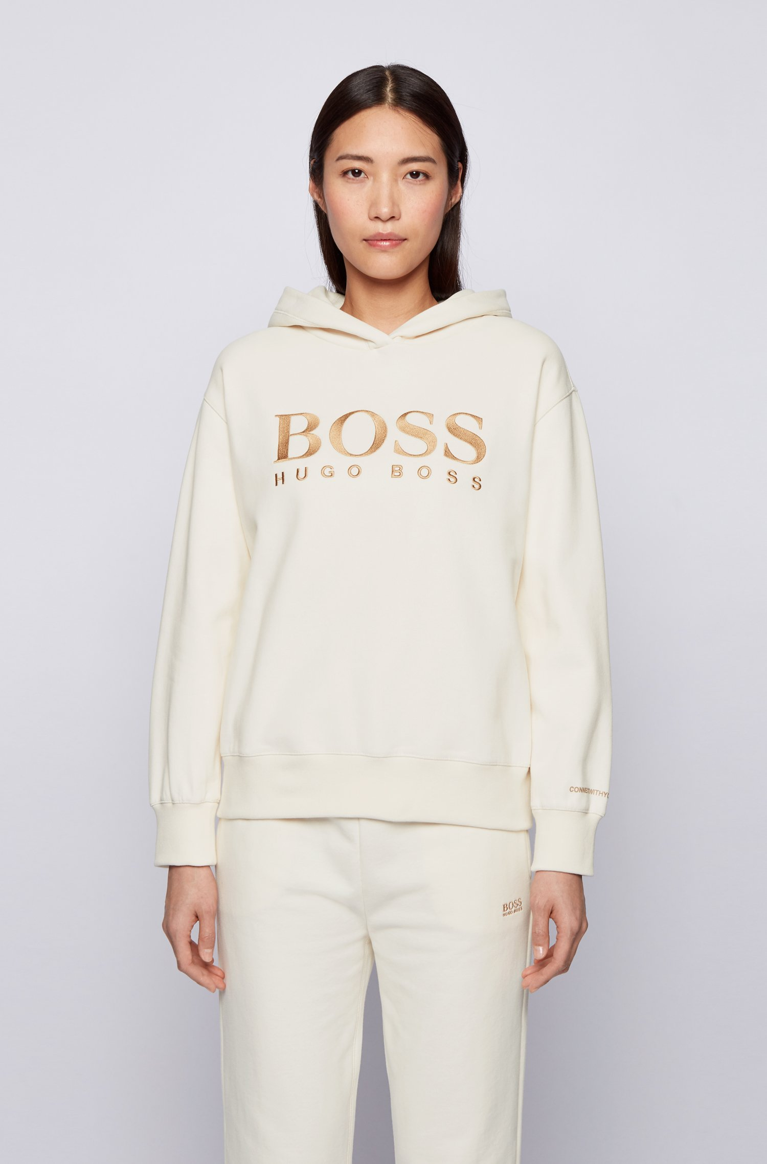 Relaxed-fit hoodie in French terry with chest logo, White