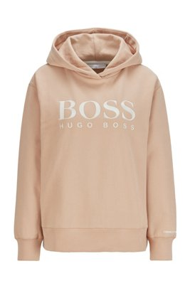 Relaxed-fit hoodie in French terry with chest logo, Light Brown