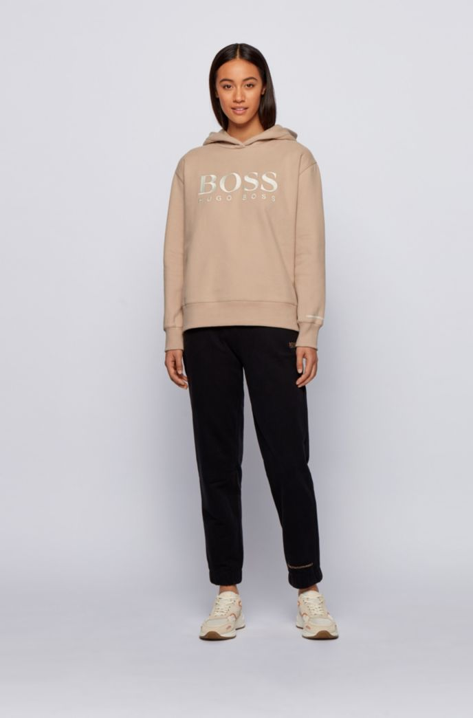 Relaxed-fit hoodie in French terry with chest logo