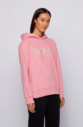 Relaxed-fit hoodie in French terry with chest logo, light pink