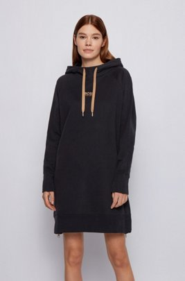 Long-length relaxed-fit hoodie in French terry, Black