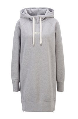 Long-length relaxed-fit hoodie in French terry, Silver