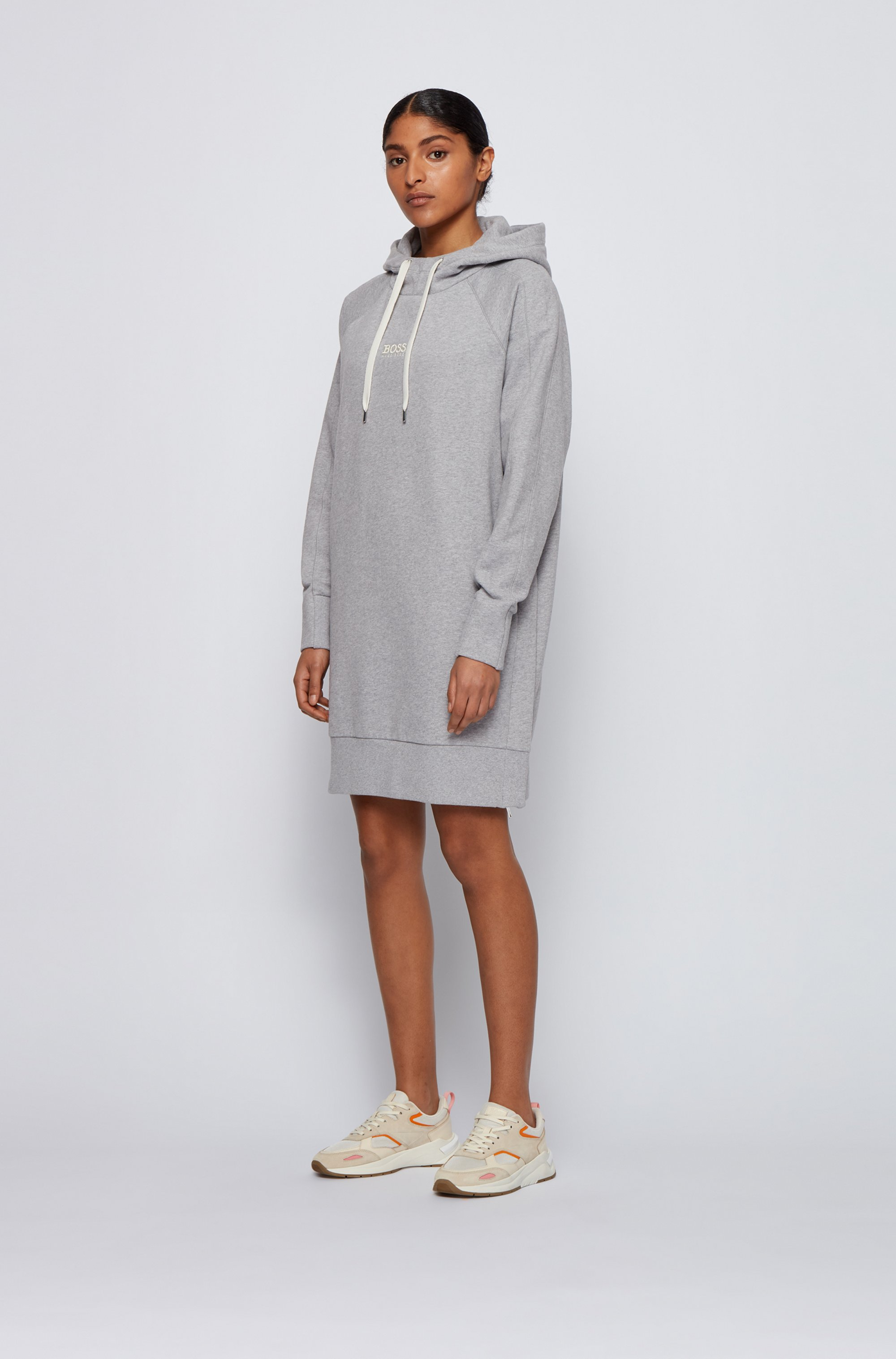 Long-length relaxed-fit hoodie in French terry