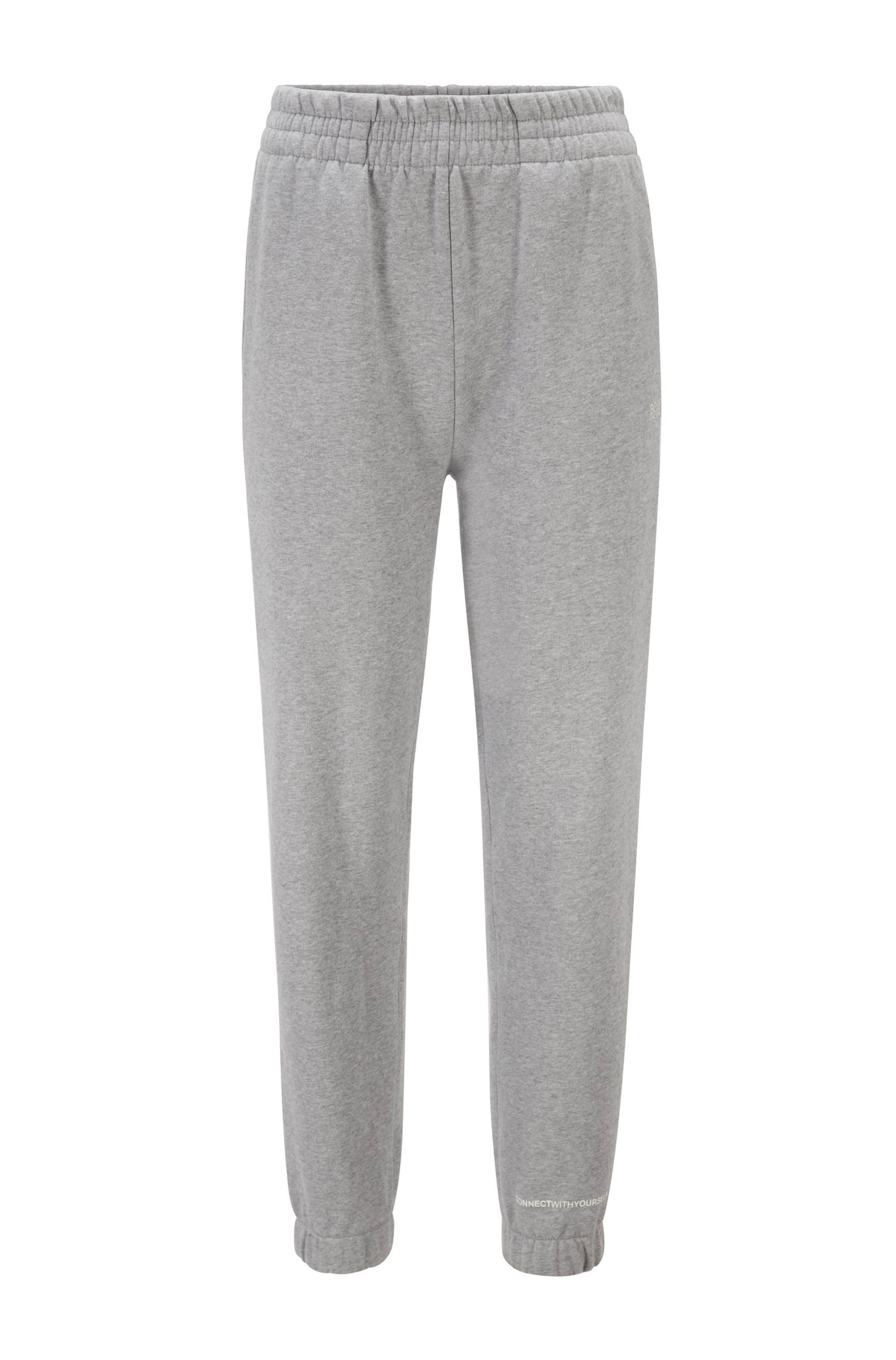 Cotton-blend tracksuit bottoms with logo print, Silver