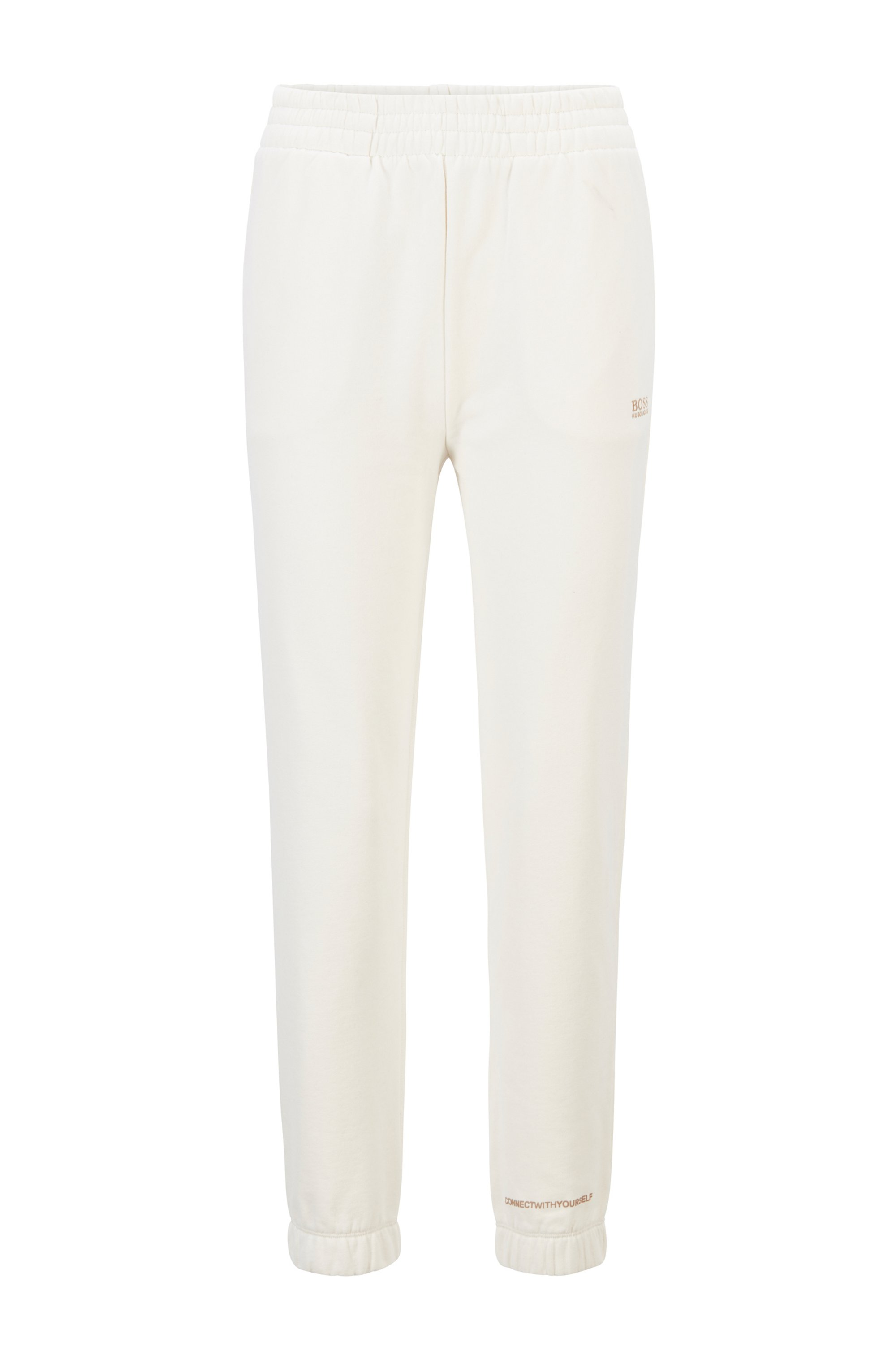Cotton-blend tracksuit bottoms with logo print, White