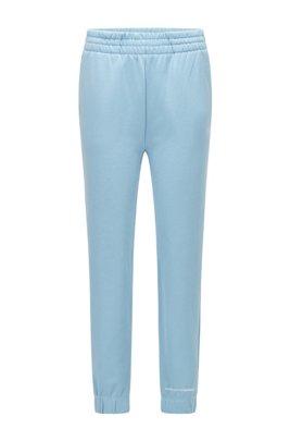 Cotton-blend tracksuit bottoms with logo print, Light Blue