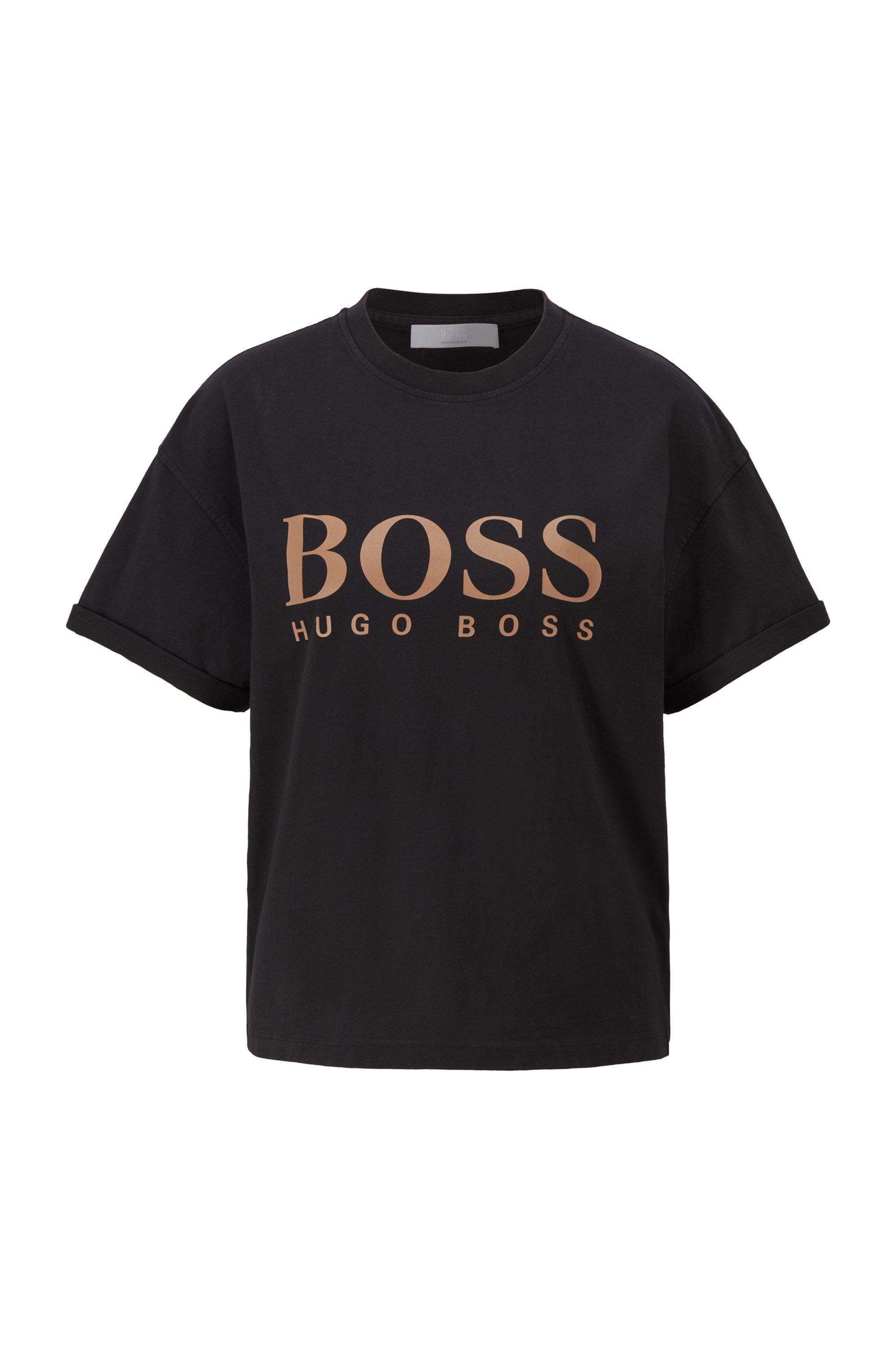 ロゴ リラックスフィットTシャツ オーガニックコットン, ブラック