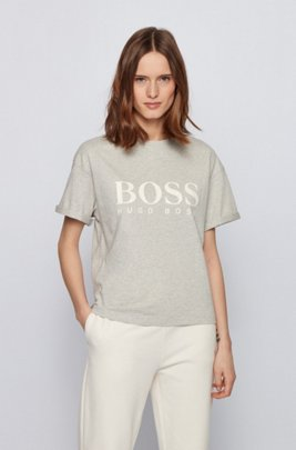 Logo relaxed-fit T-shirt in organic cotton, Silver