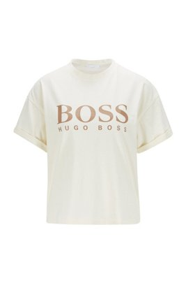 Logo relaxed-fit T-shirt in organic cotton, White